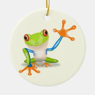 Waving red eyed tree frog illustration christmas ornament