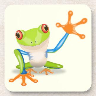 Waving red eyed tree frog illustration coaster