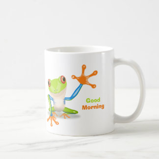 Waving red eyed tree frog illustration coffee mug