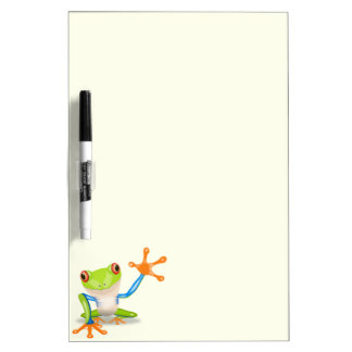 Waving red eyed tree frog illustration dry erase board