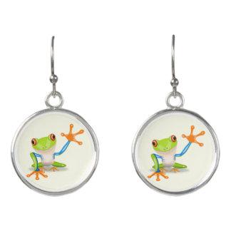 Waving red eyed tree frog illustration earrings