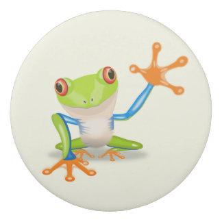 Waving red eyed tree frog illustration eraser