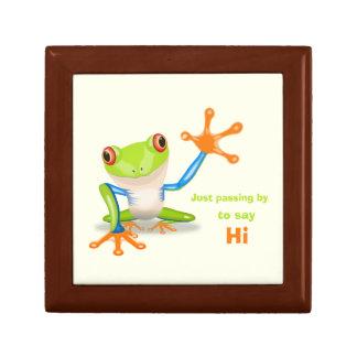 Waving red eyed tree frog illustration gift box