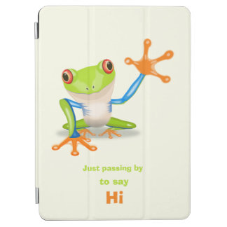 Waving red eyed tree frog illustration iPad air cover