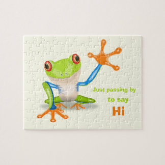 Waving red eyed tree frog illustration jigsaw puzzle