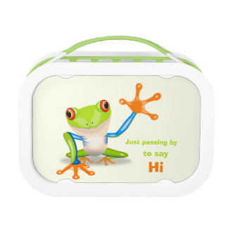 Waving red eyed tree frog illustration kids lunch box