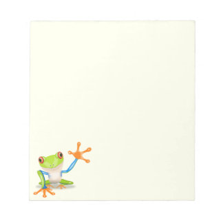 Waving red eyed tree frog illustration notepad