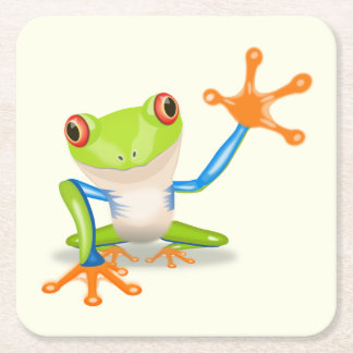 Waving red eyed tree frog illustration square paper coaster
