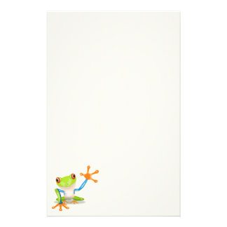 Waving red eyed tree frog illustration stationery