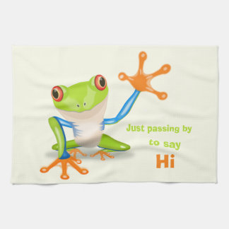 Waving red eyed tree frog illustration tea towel