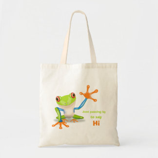 Waving red eyed tree frog illustration tote bag