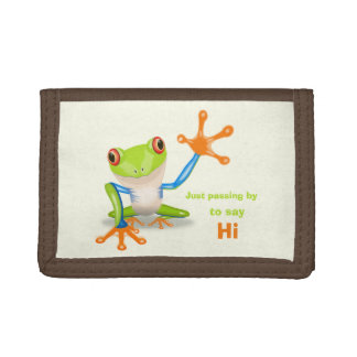 Waving red eyed tree frog illustration trifold wallet