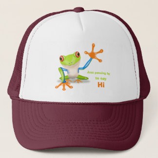 Waving red eyed tree frog illustration trucker hat