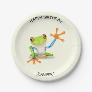 Waving red eyed tree frog kids birthday 7 inch paper plate