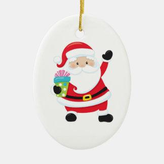 Waving Santa Ceramic Christmas Ornament