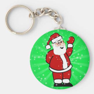 Waving Santa! Basic Round Button Key Ring
