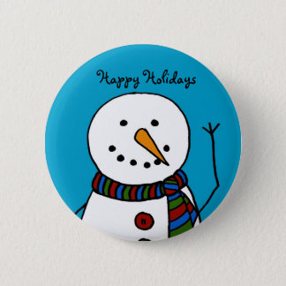 waving snowman 6 cm round badge