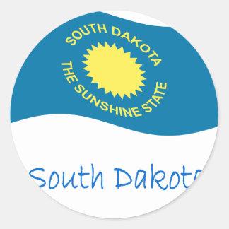 Waving South Dakota Flag And Name Round Sticker