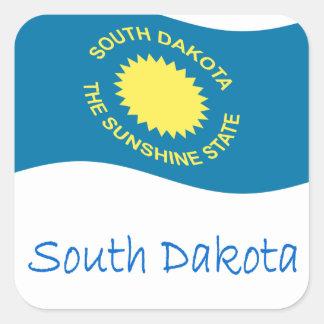 Waving South Dakota Flag And Name Square Sticker
