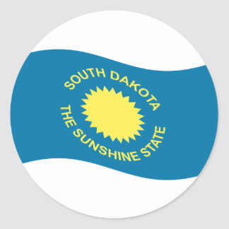 Waving South Dakota Flag Round Sticker