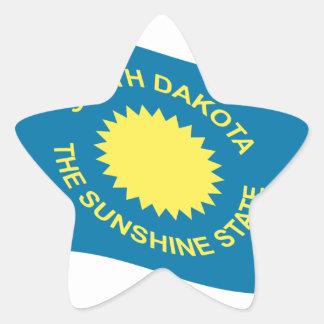 Waving South Dakota Flag Star Sticker