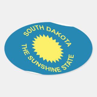 Waving South Dakota Flag Oval Sticker