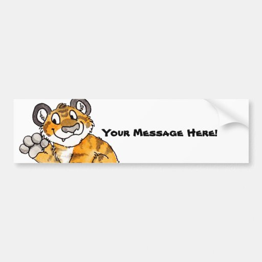 Waving Tiger Cub Bumper Sticker