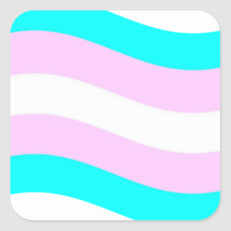 Waving Transgender Flag Square Sticker
