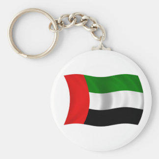 Waving UAE Flag Basic Round Button Key Ring