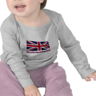 Waving United Kingdom Flag with name in Russian T-shirts