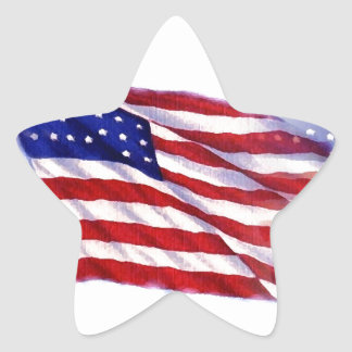Waving US Flag Star Sticker
