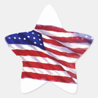 Waving US Flag Star Sticker