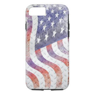 Wavy American Flag on Diamond Plate Steel iPhone 8/7 Case