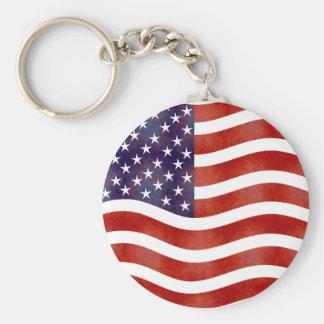 Wavy American Flag, USA Basic Round Button Key Ring