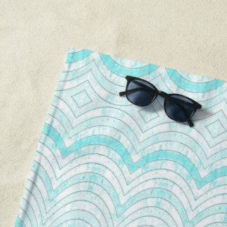 Wavy Aqua Geometric Pattern Beach Towel