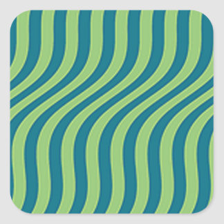 Wavy Blue and Green Slide Stripes Square Sticker