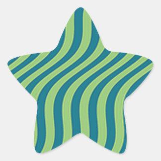Wavy Blue and Green Slide Stripes Star Sticker