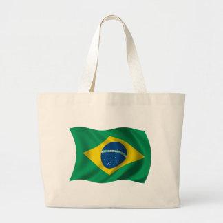 Wavy Brazil Flag Large Tote Bag