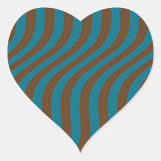 Wavy Brown and Blue Slide Stripes Heart Sticker