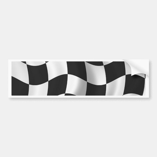 Wavy chequered flag bumper sticker
