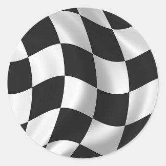 Wavy chequered flag classic round sticker