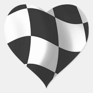 Wavy chequered flag heart sticker