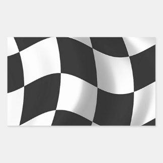 Wavy chequered flag rectangular sticker