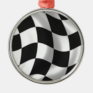 Wavy chequered flag Silver-Colored round decoration
