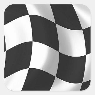 Wavy chequered flag square sticker
