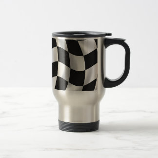 Wavy chequered flag stainless steel travel mug