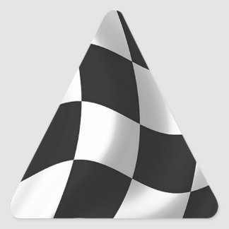 Wavy chequered flag triangle sticker