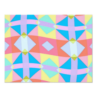 wavy chequered pattern 11 cm x 14 cm invitation card