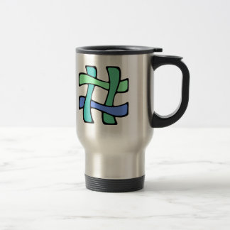 Wavy Colorful # Hashtag Blue Green Social Media Stainless Steel Travel Mug