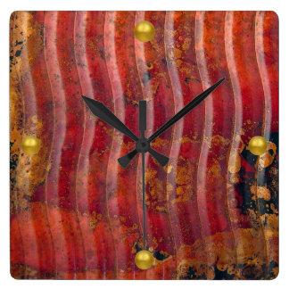 Wavy Copper Square Wall Clock
